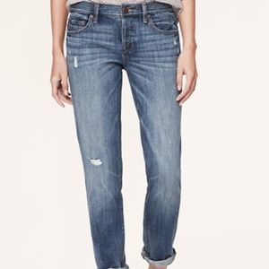 LOFT Distressed Boyfriend Cropped Jeans